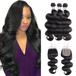 Allove Hair Brazilian Body Wave Hair 3 Bundles with 4*4 Transparent Lace Closure : ALLOVEHAIR