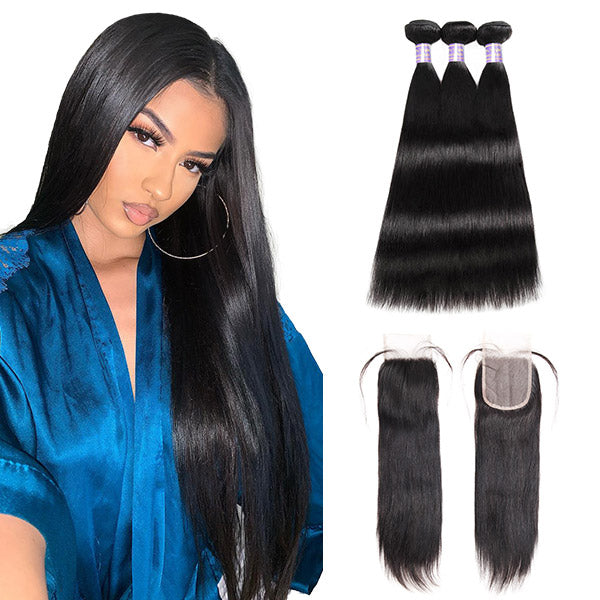 Allove Hair Brazilian Straight Hair 3 Bundles with 4*4 Transparent Lace Closure