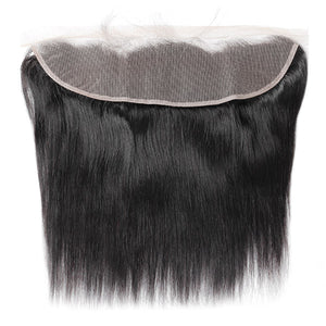 Allove Hair 13*4 Transparent Swiss Straight Hair Lace Frontal Ear to Ear Closure Natural Black : ALLOVEHAIR