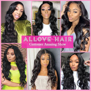 Allove Hair 4 Bundles Brazilian Body Wave Virgin Human Hair
