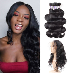 Brazilian Body Wave 3 bundles with 360 Lace Closure Virgin Human Hair : ALLOVEHAIR