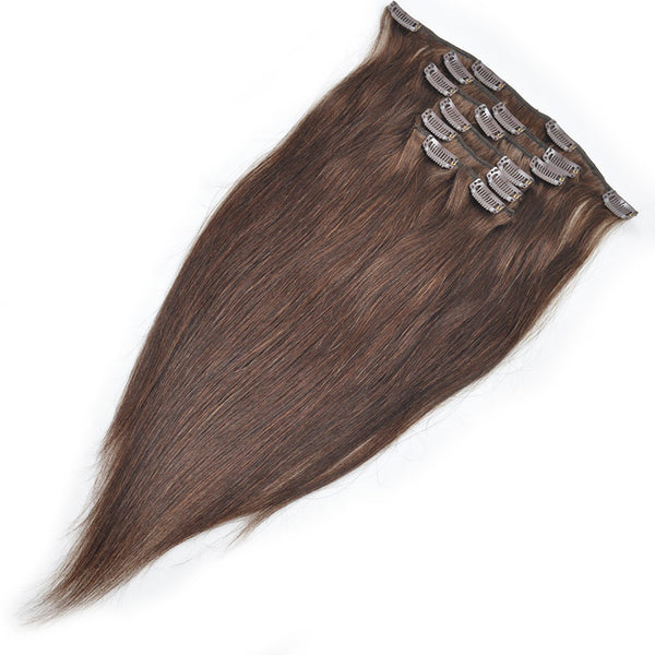 Allove Hair Straight Hair Clip In Hair Extensions 7 Pieces/Set 2# Dark Brown Color : ALLOVEHAIR