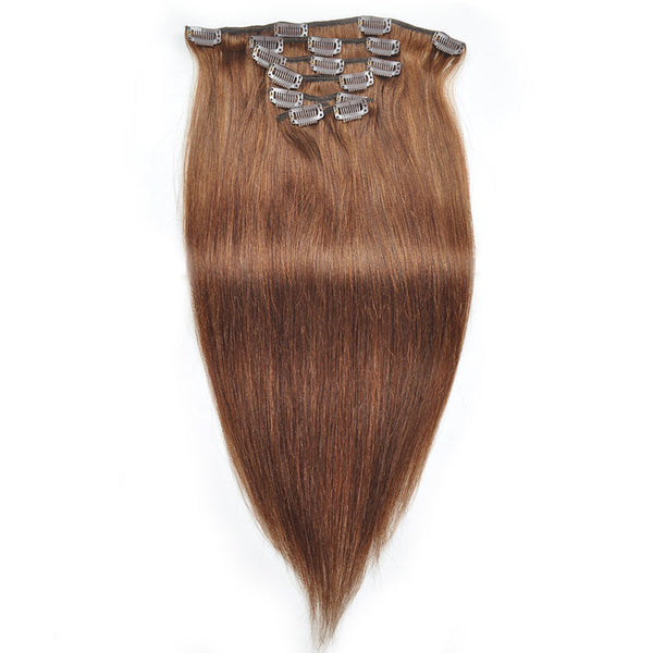Allove Straight Hair Clip In Human Hair Extensions 18-22 Inches 7 Pieces/Set 4# Color : ALLOVEHAIR