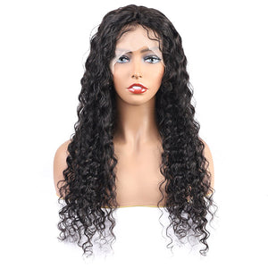Deep Wave Hair Transparent 13*4 Lace Front Wig 10A Grade Virgin Remy Human Hair-Allove Hair : ALLOVEHAIR