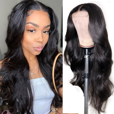 Allove HD Transparent 5*5 Lace Closure Body Wave Human Hair Wigs 150% Denisty