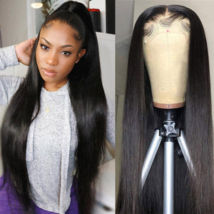 HD Transparent 5*5 Lace Closure Straight Human Hair Wigs 150% Denisty