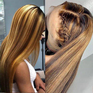 Allove Honey Blonde Ombre Hair Straight Lace Front Human Hair Wigs