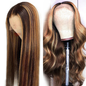 Honey Blonde Ombre Hair P4/27 4*4 Lace Closure Wig Straight/Body Wave Human Hair Wigs