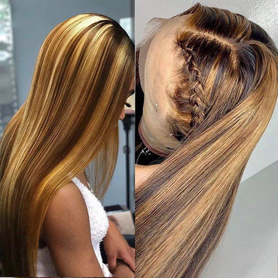 Honey Blonde Ombre Hair P4/27 4*4 Lace Closure Wig Straight Human Hair Wigs