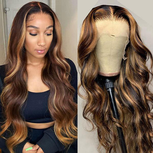 Honey Blonde Ombre Hair P4/27 Body Wave 4*4 Lace Closure Human Hair Wigs