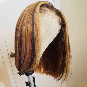 Honey Blonde Straight Hair 4*4 Lace Closure Short Bob Human Hair Wigs