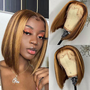 Honey Blonde Short Bob Straight Hair 4*4 Lace Closure Human Hair Wigs