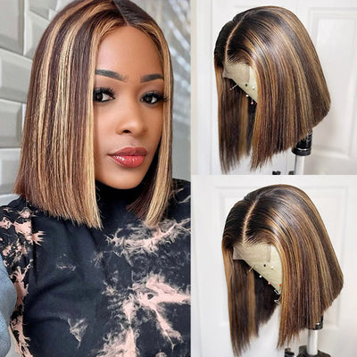 Allove Honey Blonde Short Bob Lace Part Straight Hair Human Hair Wigs