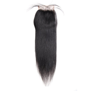 Overnight Shipping Summer Sale (16 18 20+14=76USD)Straight 3 Bundles with 4*4 Lace Closure Virgin Hair : ALLOVEHAIR