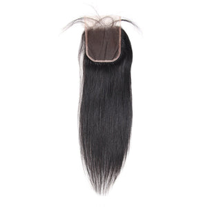Malaysian Straight Hair 4 Bundles With 4*4 Lace Closure Virgin Human Hair : ALLOVEHAIR