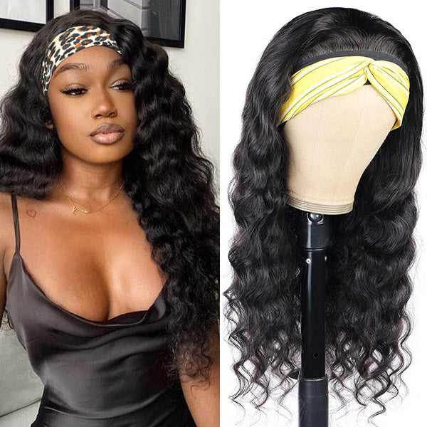 Loose Deep Wave Headband Wig Human Hair Non Lace Wig For Black Women