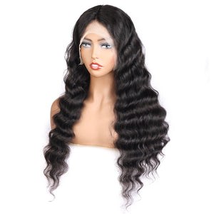 Loose Deep Wave Transparent 13*4 Lace Front Human Hair Wigs-Allove Hair