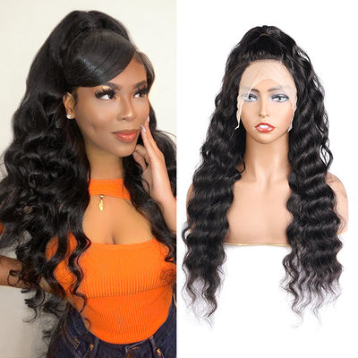 Loose Deep Wave Transparent 13*4 Lace Front Human Hair Wigs-Allove Hair : ALLOVEHAIR