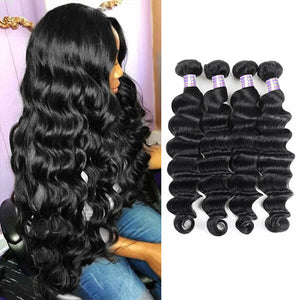 Allove Hair Malaysian Loose Deep Wave 4 Bundles Virgin Human Hair : ALLOVEHAIR