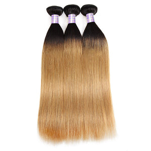 Allove Hair New Arrivial T1B/27 Colorful 3 Bundles Straight Human Hair