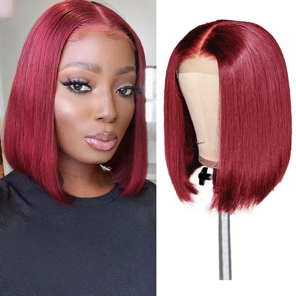 Allove Hair 99J # Color 13*4 Lace Frontal Straight Short Bob Human Hair Wig 150% Density : ALLOVEHAIR