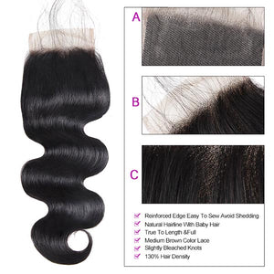 Brazilian Body Wave 4 Bundles with 4*4 Lace Closure Virgin Human Hair