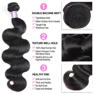 Brazilian Body Wave 3 bundles with 360 Lace Closure Virgin Human Hair