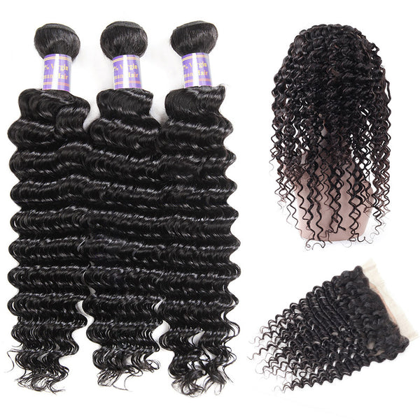 Allove Hair Brazilian Deep Wave 3 Bundles with 360 Lace Frontal Closure : ALLOVEHAIR