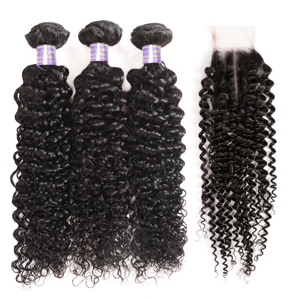 Kinky Curly Hair 3 Bundles with 2*4 Lace Closure Human Hair