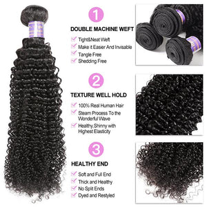 Brazilian Kinky Curly 3 Bundles with 360 Lace Closure Virgin Human Hair