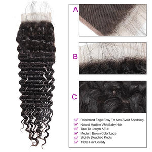 Brazilian Deep Wave 4 Bundles With 4*4 Lace Closure Virgin Human Hair