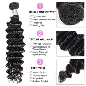 Indian Deep Wave Virgin Hair 4 Bundles With 13*4 Lace Frontal Closure