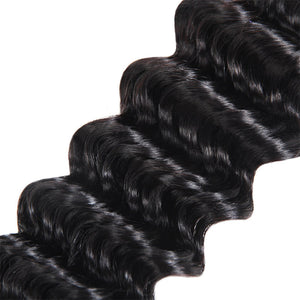 Allove Hair Deep Wave 3 Bundles with 2*4 Lace Closure Human Hair