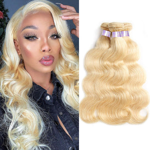 Allove Hair  Human Hair 100% Honey blonde 613 Body Wave 3 Bundles Hair Extensions
