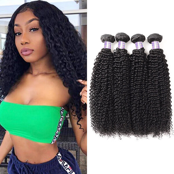 Allove Hair Brazilian Curly Wave 4 Bundles Virgin Human Hair : ALLOVEHAIR