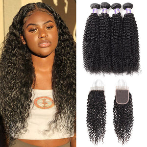 Malaysian Kinky Curly 4 Bundles with 4*4 Lace Closure Virgin Hair : ALLOVEHAIR