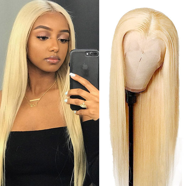 New Arrival 613 Blonde Color Straight Hair T- Part Lace Wig Virgin Remy Hair