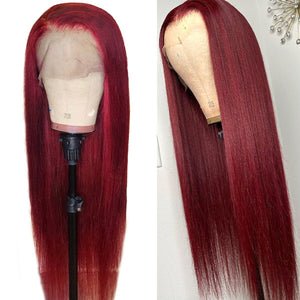 Allove Hair 99J Pre Plucked Burgundy Straight Lace Part Wigs 150% Density