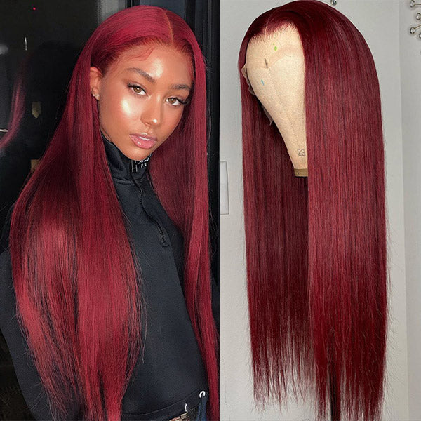 Allove Hair Burgundy 13*4 Straight Lace Front Wigs 99J Pre Plucked Lace Human Hair Wigs 150% Density : ALLOVEHAIR