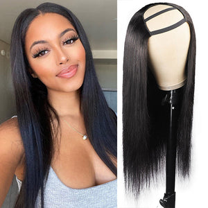 Allove Hair 99J Color Straight Virgin Remy Human Hair Wigs 4*4 No Lace U Part Wig
