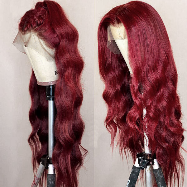 Allove Hair Burgundy 13*4 Body Wave  Lace Front Wigs 99J Pre Plucked Lace Human Hair Wigs 150% Density : ALLOVEHAIR