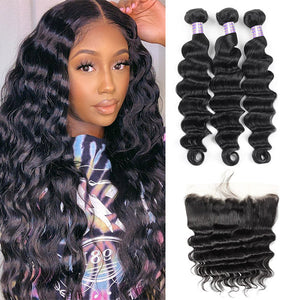 Allove Hair Brazilian Loose Deep Wave Virgin Human Hair 3 Bundles with 13*4 Lace Frontal