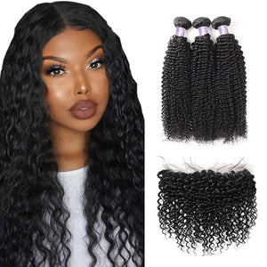Brazilian Curly Wave 3 Bundles with 13*4 Lace Frontal Closure Human Hair : ALLOVEHAIR