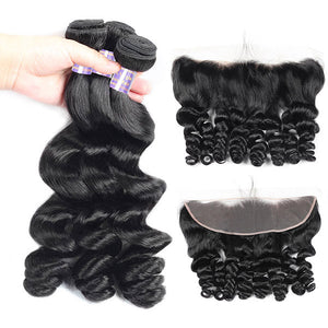 Allove Hair Brazilian Loose Wave Virgin Human Hair 3 Bundles with 13*4 Lace Frontal