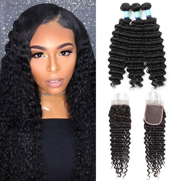 10A Remy Brazilian Deep Wave Hair 3 Bundles With 4*4 Lace Closure With Baby Hair : ALLOVEHAIR