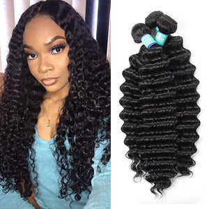 Allove hair 10A Remy Peruvian Deep Wave 3 Bundles Human Hair : ALLOVEHAIR