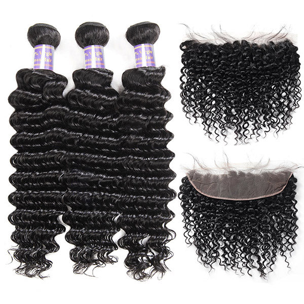 Indian Deep Wave 3 Bundles with 13*4 Lace Frontal Virgin Human Hair
