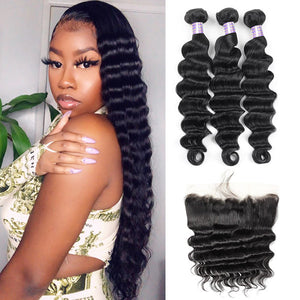 Indian Loose Deep Wave 3 Bundles with 13*4 Lace Frontal Virgin Human Hair