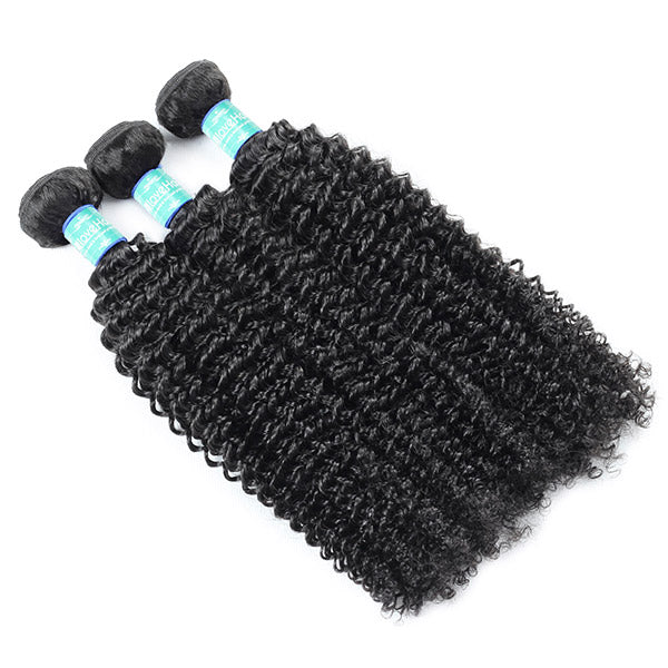 10A Remy Brazilian Kinky Curly Hair 3 Bundles With 4*4 Lace Closure With Baby Hair : ALLOVEHAIR