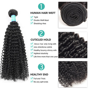 10A Remy Brazilian Kinky Curly Hair 3Bundles With 4*4 Lace Closure With Baby Hair : ALLOVEHAIR
